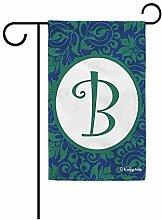 Garten Flagge,Hallo Frühling Blumen Monogramm B