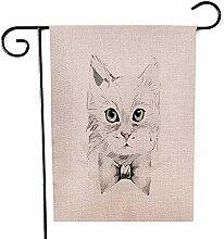 Garten-Flaggen-kleines Kätzchen im Freien mit der