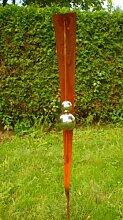 Garten Gartendeko Rost Stecker mit 2 Glanz Edelstahlkugeln
