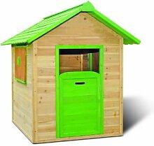 Garten-Haus / Kinder-Spielhaus für den Garten im Maß 120 x 140 x 133 cm ( Breite x Tiefe x Höhe ) aus teilweise farbig behandelten Holz