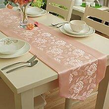 Garten im europäischen stil rose jacquard water table runner moderne einfach couchtisch tischläufer-B 35x220cm(14x87inch)