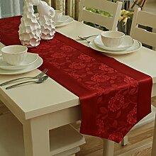 Garten im europäischen stil rose jacquard water table runner moderne einfach couchtisch tischläufer-A 35x200cm(14x79inch)
