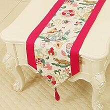 Garten Läufer Tischdecke Tee Tischdecke,Fahne Flagge Schlafmatte,Lange Tischwäsche Leinwand-I 33x230cm(13x91inch)