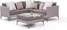 Garten Lounge Polyrattan Eck Sitzgruppe in Grau