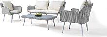 Garten Lounge Polyrattan Sitzgruppe in Grau