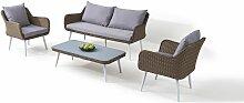 Garten Lounge Polyrattan Sitzgruppe in Karamell -