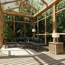 Garten-Lounge-Set mit Auflagen 6-tlg. Poly Rattan