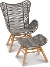 Garten Loungesessel mit Fußhocker - Asmara