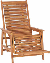 Garten-Loungestuhl mit Fu?ablage Teak Massivholz