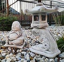 Garten Ornament Beton Set Pagode Lesen + Happy