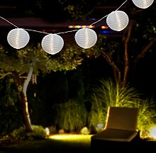 Garten Partylichter Lichterkette Weiß mit 15 Lampion 30 LED-Lichter 17m - Aussenlichterdeko Dekoration Lampionkette Partylichter
