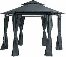 Garten-Pavillon Grau Stahl mit Dach Seitenwänden
