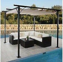 Garten Pavillon Pergola 3,5x3,5m creme stabil Gartenzelt Partyzelt Terasse neu