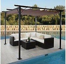 Garten Pavillon Pergola 3x3 m grau stabil Gartenzelt Partyzelt Terasse Dach neu