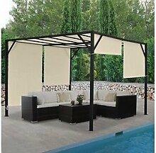 Garten Pavillon Pergola 4x4 m creme Gartenzelt Partyzelt Terasse Schiebedach