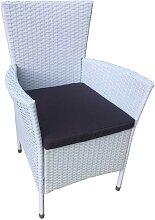 Garten Sessel in Weiß Kunstrattan Polsterauflagen