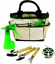 Garten Set Gartenwerkzeug 6teilig mit Segeltuchtasche Harke 2 Schaufeln Rosenschere Wickeldraht und Sprühflasche und Tasche