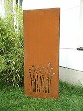 Garten Sichtschutz aus Metall Rost Gartenzaun Gartendeko edelrost Sichtschutzwand PF0016 125*50*2CM