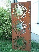 Garten Sichtschutz aus Metall Rost Gartenzaun Gartendeko edelrost Sichtschutzwand PF0003 150*50*2cm