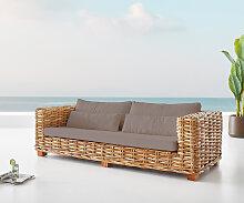 Garten-Sofa Nizza Rattan Natur mit braunen Kissen