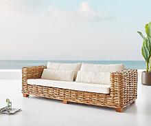 Garten-Sofa Nizza Rattan Natur mit weißen Kissen