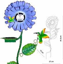 Garten Solar LED Außenleuchte Gartenleuchte Blumenlampe Kolibri blau Globo 33168