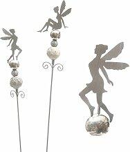 Garten-Stecker Garten-Deko Deko-Stecker nostalgisch Elfe  Metall hellgrau und silber glänzend