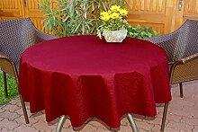 Garten-Tischdecke ABWASCHBAR mit Acryl und BLEIBAND, Form und Größe sowie Farbe wählbar,130 cm rund bordeaux-rot Leonardo