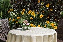 Garten-Tischdecke ABWASCHBAR mit Acryl und BLEIBAND, Form und Größe sowie Farbe wählbar,120 cm rund beige-crem London