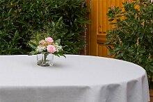 Garten-Tischdecke ABWASCHBAR mit Acryl und BLEIBAND, Form und Größe sowie Farbe wählbar, Maße: 120x260 cm Oval silbergrau Oslo