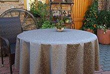 Garten-Tischdecke ABWASCHBAR mit Acryl und BLEIBAND, Form und Größe sowie Farbe wählbar,110 cm rund schoko Leonardo