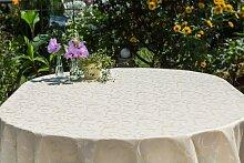 Garten-Tischdecke ABWASCHBAR mit Acryl und BLEIBAND, Form und Größe sowie Farbe wählbar, Maße: 130x240 cm Oval beige-crem London