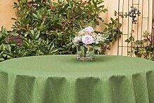 Garten-Tischdecke ABWASCHBAR mit Acryl und BLEIBAND, Form und Größe sowie Farbe wählbar,100 cm rund grün Rustikal