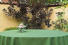 Garten-Tischdecke ABWASCHBAR mit Acryl und BLEIBAND, Form und Größe sowie Farbe wählbar, Maße: 130x200 cm Oval grün Rustikal