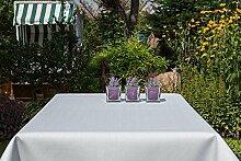 Garten-Tischdecke ABWASCHBAR mit Acryl und BLEIBAND, Form und Größe sowie Farbe wählbar, Maße: 130x220 cm Eckig weiß Rustikal