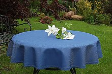 Garten-Tischdecke ABWASCHBAR mit Acryl und BLEIBAND, Form und Größe sowie Farbe wählbar,150 cm rund blau Rustikal