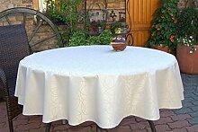 Garten-Tischdecke ABWASCHBAR mit Acryl und BLEIBAND, Form und Größe sowie Farbe wählbar, Maße: 150x200 cm Oval sand-beige Leonardo