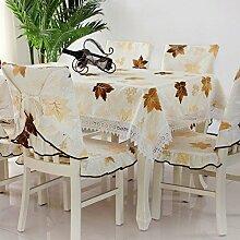 Garten Tischtuch Tisch Tuch,Stuhl Set Kissen Tisch Tuch,Fabric Set Dining Chair Cover-A 100x100cm(39x39inch)