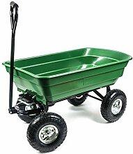 Garten Transportwagen mit Kippfunktion, 4 Luftreifen, Griff gepolstert, Wanne geschlossen, wendig, geländegängig, vielseitig, Zuladung max. 250 kg