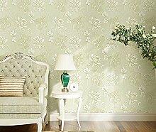 Garten Vliestapeten Europäischen Stil 3D Großen Blüten Einfache Schlafzimmer Wohnzimmer Tv Hintergrundbild Hellgrün Wallpaper