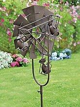 Garten Windrad in Antik rostig, Gartenstecker Windrad mit putzigen Katzen
