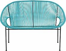 Gartenbank 2/3-Sitzer aus blauem Kunstharz-Gewebe