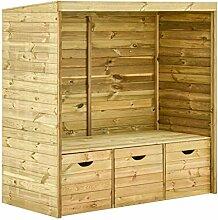 Gartenbank 3-Sitzer Holz Gartenlaube mit