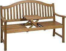 Gartenbank mit einklappbarer Tischablage aus Eukalyptus FSC® Zertifiziert, Natur - Modell OPPLAND
