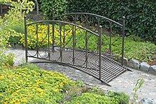 Gartenbrücke mit Geländer aus Metall, Rost-Optik