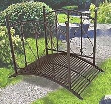 Gartenbrücke mit Geländer, Metall, Rost-Optik,