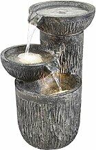 Gartenbrunnen 3 Schalen Brunnen Wasserfall Wasserspiel beleuchtet 54 x 45 x 36 cm mit Pumpe 12 kg