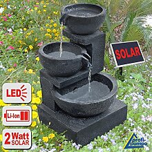 """GARTENBRUNNEN BRUNNEN Solar BRUNNEN ZIERBRUNNEN VOGELBAD WASSERFALL GARTENLEUCHTE TEICHPUMPE - SPRINGBRUNNEN WASSERSPIEL für Garten, Gartenteich, Terrasse, Teich, Balkon, sehr DEKORATIV, VERBESSERTES MODELL MIT PUMPEN-INSTANT-START-FUNKTION SOLARTEICHDEKORATION, GARTENDEKO, LED-Solar-Set Wasserbrunnen """"""""GRANITSCHALEN-KASKADE-2"""""""" mit LiIon-Accu und LED-Beleuchtung GARTENLEUCHTE STEHLAMPE"""