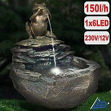 Gartenbrunnen DURSTIGER FROSCH mit LED-Licht 230V