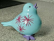 Gartendeko, 6934 Mila Gartenfigur -- Spatz -- in hellblau